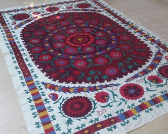 Vintage Textile,handmade textile,suzani silk, wall hanging, table cover ,handmade cover,suzani