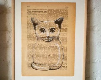 Cat. N 9. Printed drawing on recycled paper with highlights in black ink. 24.5x17.5 centimeters. Gift, Christmas, petite illustration, cats