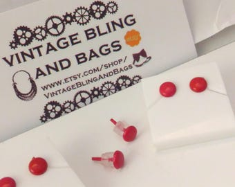 5mm NOS RED 1980s earrings, small 1980s red earrings, 1980s red earrings, red 1980s earrings, red vintage 1980s earrings, 1980s red earrings