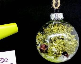 6cm snowglobe glass bauble, rose hip baubles, snow globe bauble, snow globe, glass bauble, bauble, glass snow globe bauble, Christmas bauble