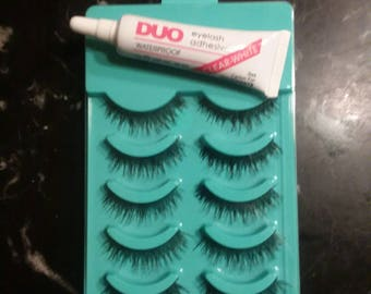 5 Sets Eyelashes & 7g Eyelash Glue (white)