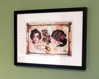 Tattoo Flash fine art print 'Greensleeves' Flapper girls A4