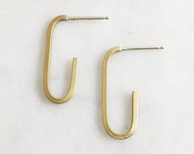 Modern Hoop Earring - Oblong