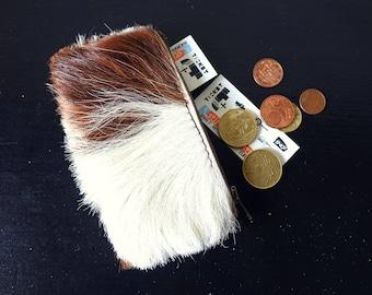 Wallet cowhide - small vintage purse - Vintage purse cow skin