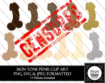 Penis Clip Art Set - 14 Piece - 7 inches - Instant Download - Printable - PNG, SVG & JPEG #105