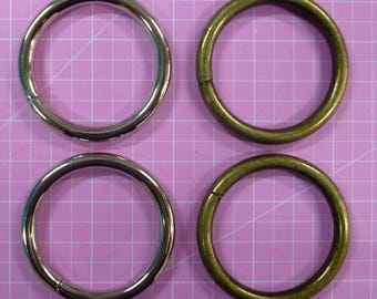 O Rings 1 & 1/2 in / 38mm Nickel or Antique Brass Set of 2