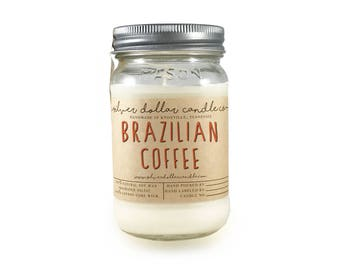 Coffee Candle, Brazilian Coffee 16oz Scented Candle | Strong Scented, Mason Jar Candle, Coffee scent,Thanksgiving,Coffee candles,Fall candle