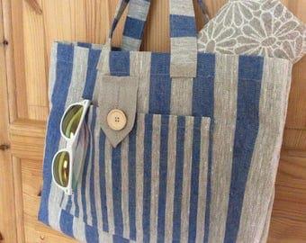 Linen Beach Bag Market Bag  Linen Tote bag totes Linen Bag Natural bag Eco Bag Beach Tote Summer bag Linen shopping bag