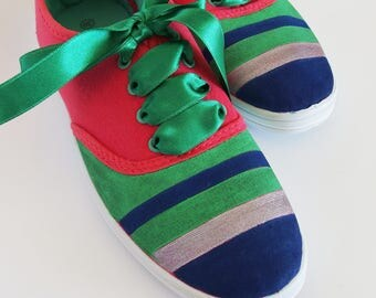 Hand-Painted Sneakers of the Striped, Colorful Shoes,School Colors, Casual Shoes,
