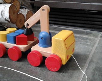 Vintage Wooden truck with wagon Magnetic blocks Crane lift Childs Toy Blocks Primary Colors Shapes Kids toy Nursery decor Pull Toy