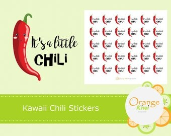 Chili Stickers, Winter Kawaii Stickers, Cute Chili Stickers, A Little Chili Stickers