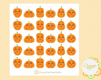 Kawaii Pumpkins, Pumpkin Stickers, Planner Stickers, Fall Stickers