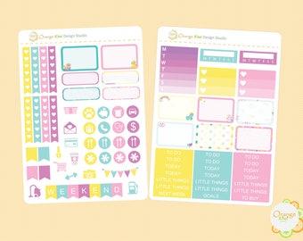 Unicorn Mini Kit for Erin Condren Life Planner, Planner Stickers, Plum Paper, Filofax, Mambi