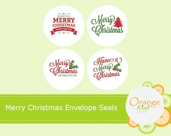 Merry Christmas Envelope Seals, Merry Christmas Stickers