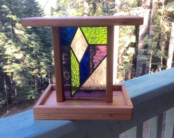 Stained Glass and Redwood Bird Feeder - Item #A52B