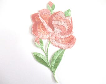An Antique Silk Pink Flower Applique 1930s Embroidery Vintage floral patch, sewing supply. #6ADG9AK4