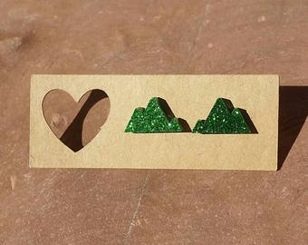 Green Glitter Mountains - Mountain Stud Earrings - Mountains Earrings with Stainless Steel Posts and Backings - Green Glitter Earrings