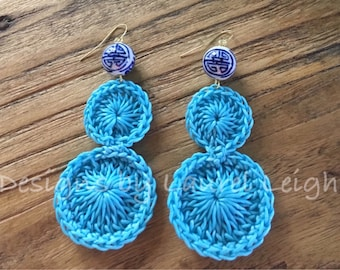 SALE | Crochet Lace Earrings | TURQUOISE, chinoiserie, lightweight, blue and white, gold, statement earrings