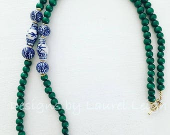 Dark Green Chinoiserie Beaded Necklace | Blue and White, statement necklace, Designs by Laurel Leigh, ginger jar