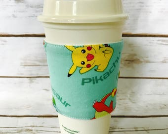 Coffee Cup Cozy, Pokémon Reusable Coffee Sleeve, Tea Cup Cozy, Personalized Gift, Custom Cup Sleeve, Eco Friendly Item,