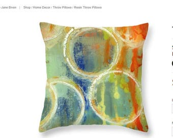 Orange Abstract Pillow | Throw Pillow Cover | Colorful Pillow | Cushion | Designer Pillows | Decorative Pillow | Abstract Circles | Gift