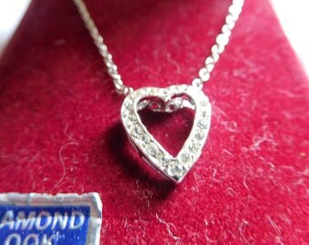 "Vintage Silver Tone Open Heart Necklace with ""Diamond Like"" Stones around Outer Perimeter 15 Inch Chain"