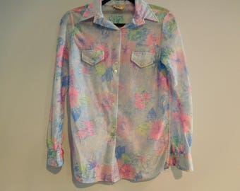 Vintage Retro 1980's Blouse with Blue and Pink Flowers Size 36