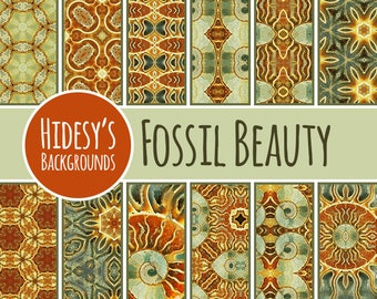 Photographic Digital Paper with Fossil Patterns / Backgrounds Commercial Use Backgrounds