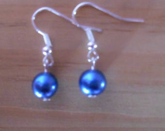 Classic wedding earrings Royal Blue beads