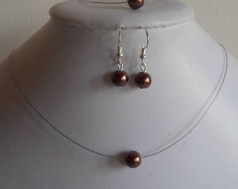 Set of 3 wedding pieces solitaire Pearl chocolate brown