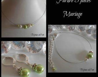 Set of 3 wedding pieces rhinestone and Pearl White and lime green