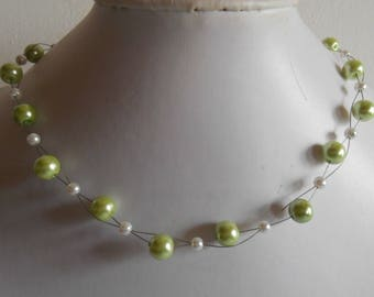 Bridal twist of lime green and white beads