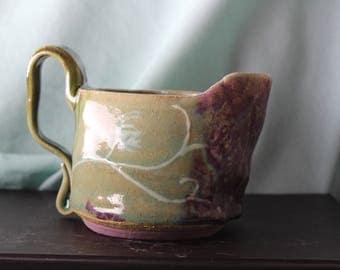 Short Floral Handmade Ceramic Pitcher or Creamer
