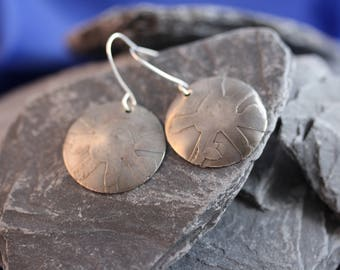 Sterling Silver Etched Earrings (082017-044)