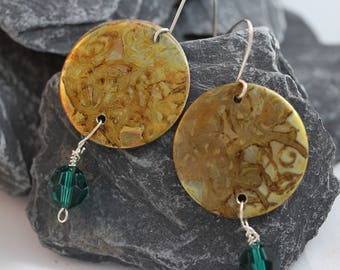 Etched Brass Earrings with Green Bead (082017-040)