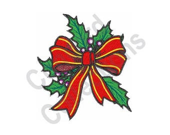 Christmas Holly Bow - Machine Embroidery Design