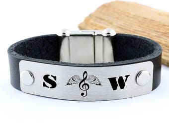 Initial bracelet, Personalized leather bracelet, Musicians gifts, note gifts, musician bracelet, personalized musician gift, love song gift