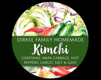 Customized Kimchi Label - Watercolor Style Canning Jar Label - Wide Mouth & Regular Mouth - Watercolor Custom Kimchi Label