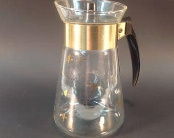 Corning Coffee Carafe, Atomic Starburst Mid Century Heat Proof Glass Coffee Carafe, With Lid, 6 Cup