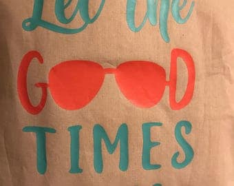 Let the good times roll tote, coral, mint, canvas