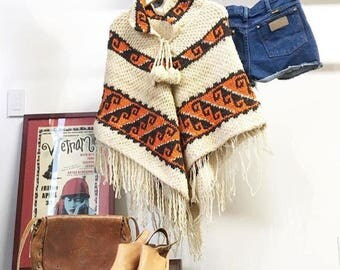 Sold in store. Do not buy. Vintage Late 1960s Sixties Knit Poncho. Desert. Bohemian. Hippie. Summer Nights.