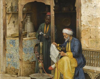 Old Arab Coffee House in Cairo - Arabian Art - Handmade Oil Painting On Canvas