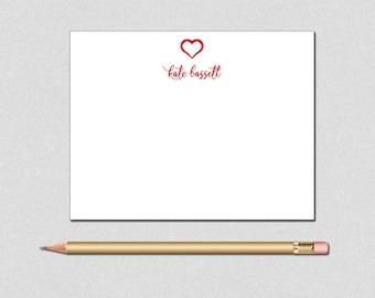 Heart Note Card, Valentine Note Card, Monogram Note Card, Red border Note Card, Monogram Personalized Stationery, Personalized Note Cards,