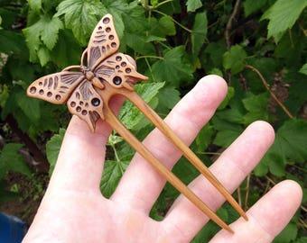 "Hair fork ""Butterfly"", Hair fork wood, Hair accessories of wood, Hair fork, Hair pin fork, Hair stick, Hairpin wood, Handmade, Wood carving."