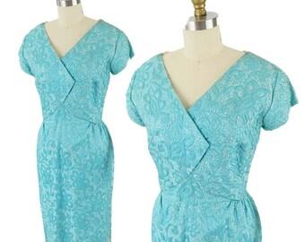 60s Aqua Damask Cocktail Dress-1960s Party Dress-Wrap Bodice-Short Sleeve-Sheath Dress-M-Medium