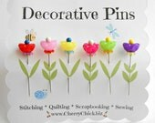 Decorative Sewing Pins - Pretty Pins - Gift for Quilters - Sewing Pins - Fancy Pins - Scrapbooking Pins - Quilting Pins -  Pincushion Pins