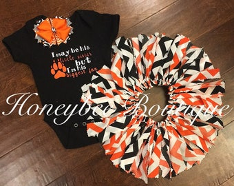 I may be his little sister but im his biggest fan sports themed set-Black & Orange