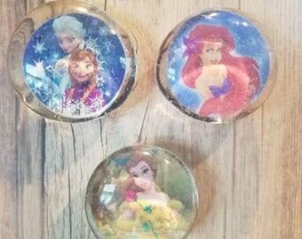 Set of 3 Princess Magnets Belle, Ariel, Ana, Elsa...Beauty & the Beast, Little Mermaid, Frozen