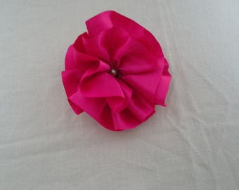 Flower brooch and pink satin hand made hair clip, White Pearl Center