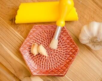 Brick Red Ceramic Garlic Grater